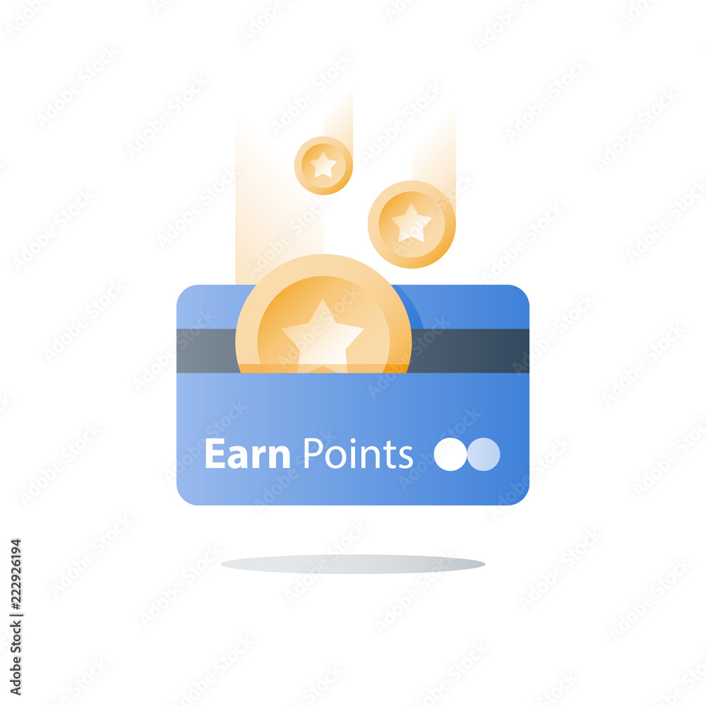 Fototapeta Loyalty program, earn reward, bonus card, perks concept, vector flat icon