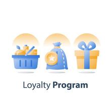 Earn Bonus Points, Full Grocery Basket, Loyalty Program, Redeem Reward Gift, Present Box, Collect Tokens