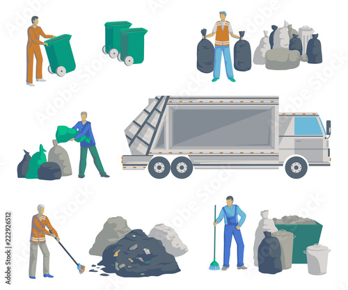 Garbage men set. Garbage truck, bags, cans, bins, containers and pile of trash. Isolated objects on white background. Garbage recycling and utilization equipment. Vector illustration