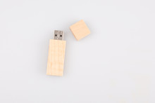 USB Flash Drive Wood Wooden Usb Memory Stick Isolated On White