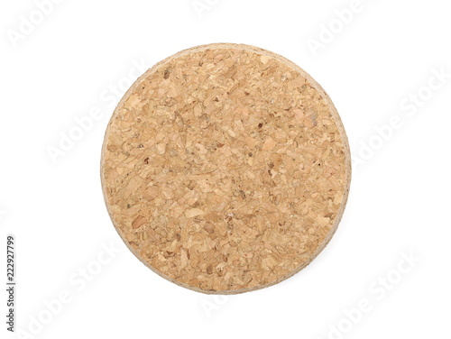 Cork isolated on white background and texture, top view