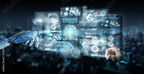 Fotografía  White cyborg hand using digital datas interface 3D rendering