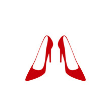 Red High Heels Icon Isolated On White. Elegant Shie Vector.
