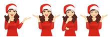 Surprised Christmas Woman In Santa Hat Vector Illustration