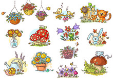 Small And Simple Artoon Illustrations With Animals And Flowers