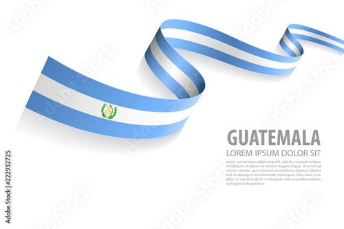 Fototapeta Vector Banner with Guatemala Flag colors obraz na płótnie