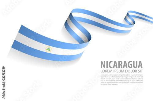 Fototapeta Vector Banner with Nicaragua Flag colors obraz na płótnie
