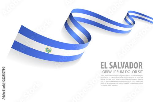 Fototapeta Vector Banner with El Salvador Flag colors obraz na płótnie