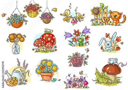 Small and simple artoon illustrations with animals and flowers © katerina_dav