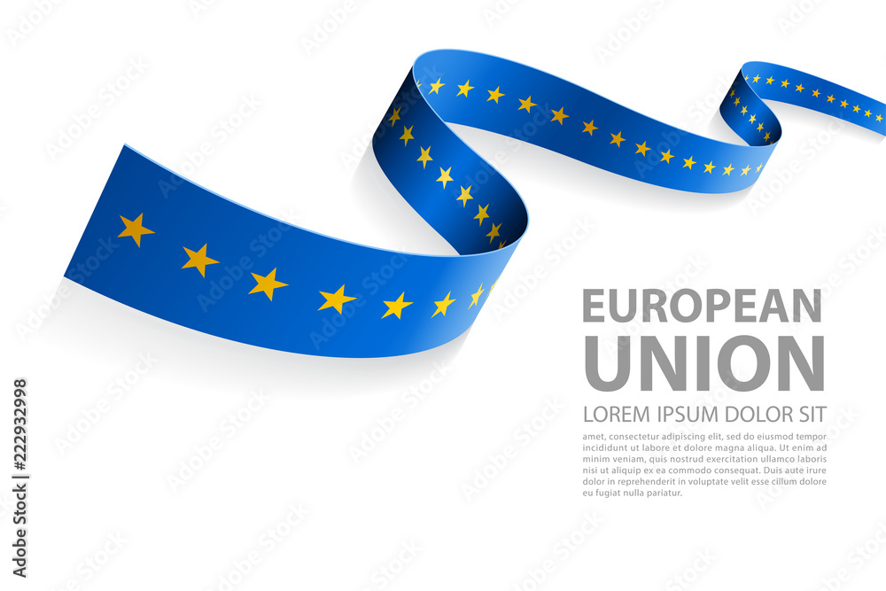 Fototapeta Vector Banner with EU Flag colors - obraz na płótnie