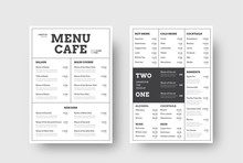 Vector Design Menu For Cafes And Restaurants With The Division Into Blocks Of Thin Lines.