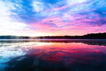 Bright Colorful Foggy Sunset O...