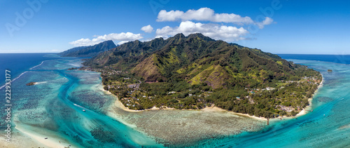 Stampa su Tela Moorea island french polynesia lagoon aerial view