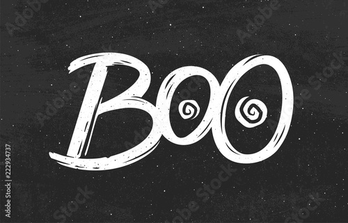 Fotografia, Obraz  Boo text on black chalkboard background