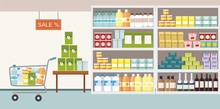 Supermarket Interior With Commodity Product On Shelf And Shopping Cart