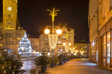 Empty Christmas Town With Decorations And Lights And The Tree. No Snow Winter Time, Prostejov, Czech Republic