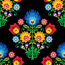 Seamless Folk Art Vector Pattern - Polish Traditional Repetitive Design With Flowers - Wycinanki Lowickie