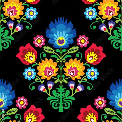 Fotografija  Seamless folk art vector pattern - Polish traditional repetitive design with flo