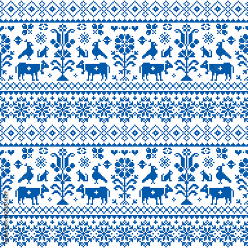 Retro traditional cross-stitch vector seamless pattern - repetitive background inspired Swiss old style embroidery with flowers and animals  Wall mural