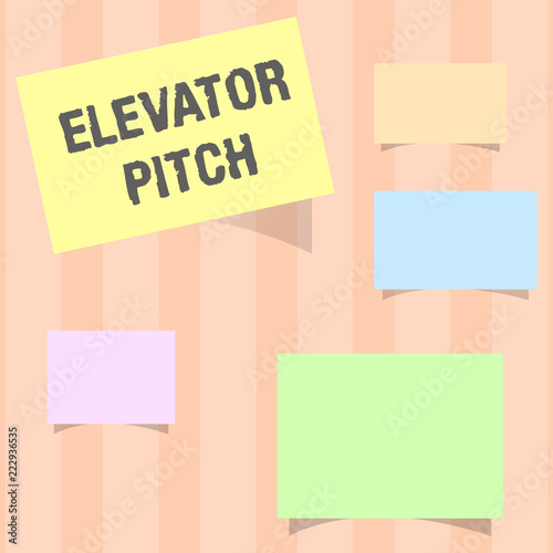Handwriting text Elevator Pitch  Concept meaning A