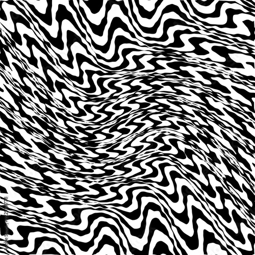 Valokuva  Abstract Warped Black and White Lines Background