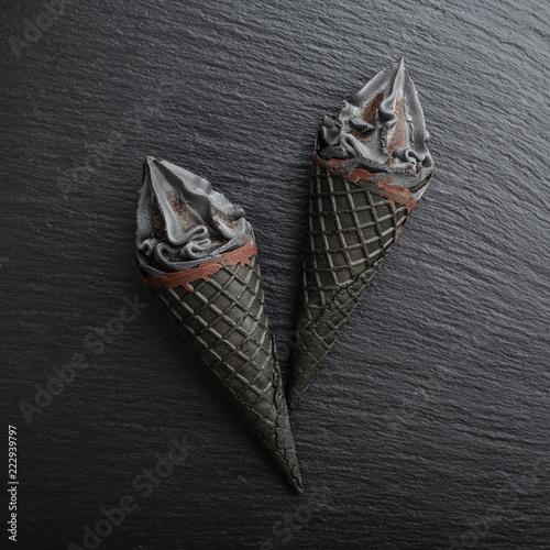 Photo  Black ice cream in cone
