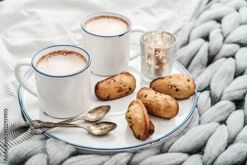 Tray with two cups of hot chocolate