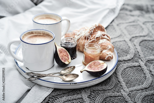 Fototapeta Tray with two cups of coffee obraz