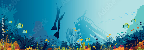 Underwater panorama -freedivers, fishes, coral reef and sea.