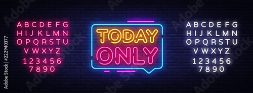 Photo Today Only Neon Text Vector