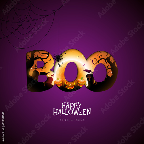 Fotografia, Obraz  Boo, Happy Halloween design with pumpkin, moon and flying bats in typography lettering on dark purple background