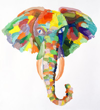 Watercolor Painting Of Elephan...
