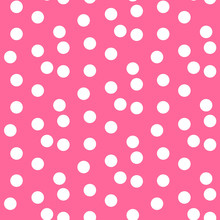Baby Pink Background Scattered Dots Polka Seamless Pattern