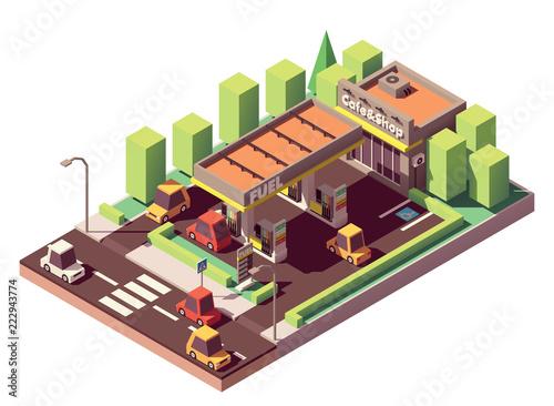 Foto op Canvas Hoogte schaal Vector isometric gas station