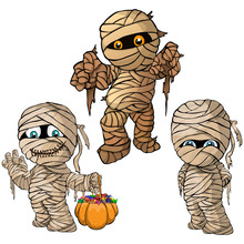 Vector Isolated Illustration Of A Set Mummy For Halloween
