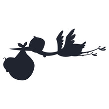Silhouette Cartoon Stork And Baby. Vector Illustration Of A Flying Bird Carrying A Newborn Kid Isolated On A White Background.