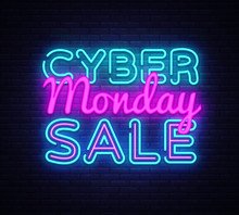 Cyber Monday Vector, Discount Sale Concept Illustration In Neon Style, Online Shopping And Marketing Concept, Illustration. Neon Luminous Signboard, Bright Banner, Luminous Advertisement