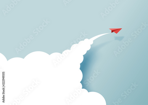 Obraz Red paper airplanes flying on blue sky and cloud.Paper art style of business success and leadership creative concept idea.Vector illustration - fototapety do salonu