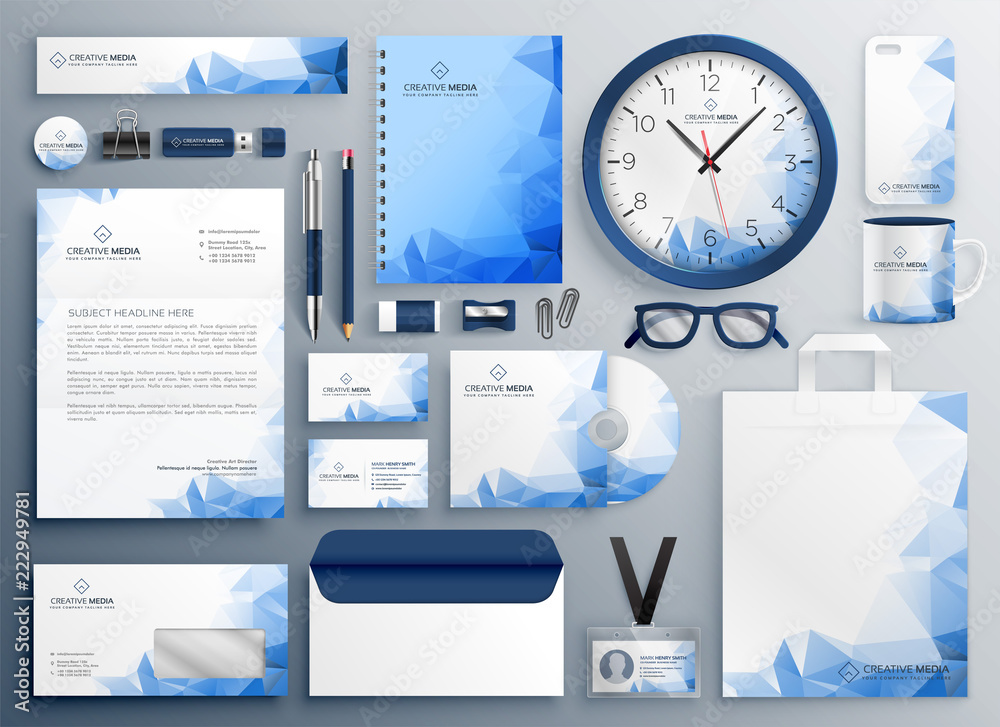 Fototapeta abstract blue business collateral set