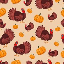 Turkey Bird And Pumpkin Vector...