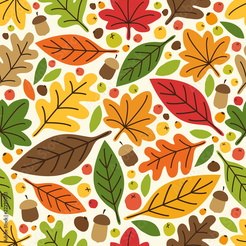 Poster Kunstmatig Cute autumn seamless pattern with rustic hand drawn leaves