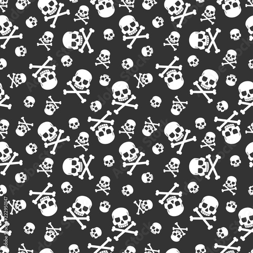 Photo  Skull and crossbones vector seamless pattern for holiday Halloween