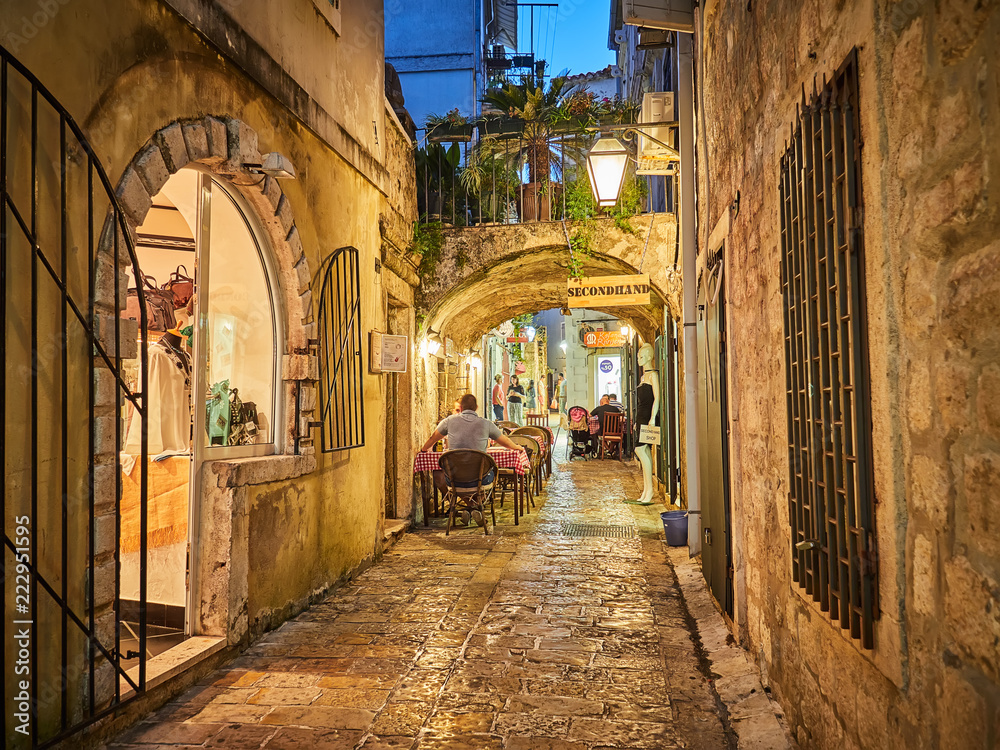 Fototapety, obrazy: Streets of Budva Old Town Center in Budva, Montenegro