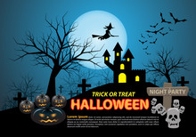 Happy Halloween On Blue Moon Light Night Party Holiday Celebration Festival Vector Illustration.