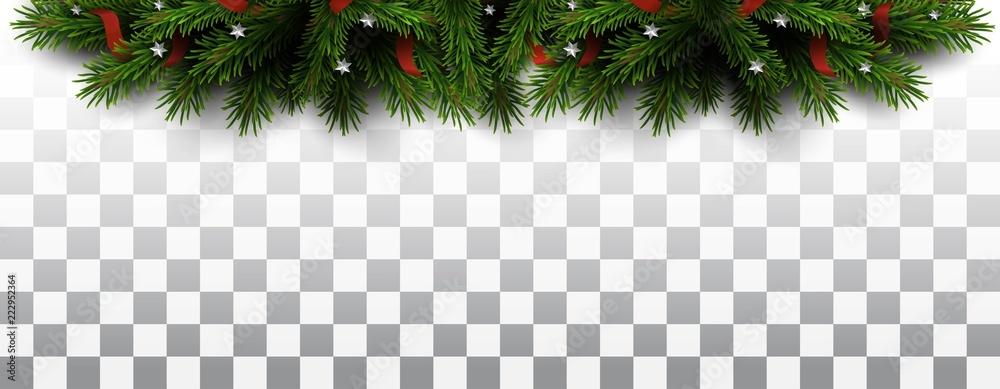 Fototapeta Vector christmas tree border on transparent background. Christmas design element for greeting card