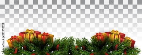 Vector Christmas Tree Border On Transparent Background Christmas