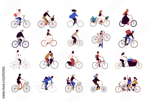 Fotografie, Obraz  Group of tiny people riding bikes on city street during festival, race or parade