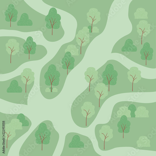landscape with trees air view scene