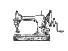 Old Mechanic Sewing Machine Engraving Vector Illustration. Scratch Board Style Imitation. Black And White Hand Drawn Image.