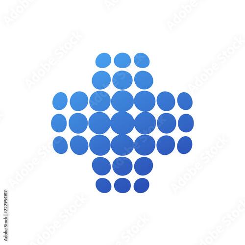 Photo Logotipo sanidad global con cruz en circulos azul